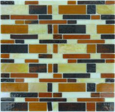 Tuscan Glass  Brick Victorian, Unique Shapes, Gold & Brown, Glossy, Brown, Glass
