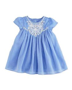 Embroidered+Short-Sleeve+Shift+Dress,+Blue,+Size+6M-2+by+Charabia+at+Neiman+Marcus.
