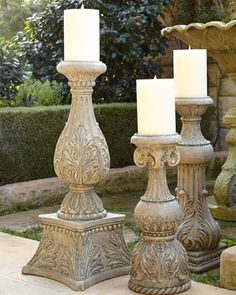 """36""""T Cast-Stone Candlestick by G G Collection at Horchow."""