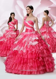 2014 One Shoulder Ruffled Layered and Beaded Dresses for Quinceanera
