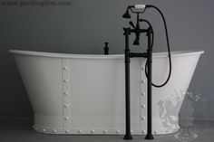 The Charterhouse 68' Vintage Designer Pedestal Cast Iron French Bateau Tub Package from Penhaglion