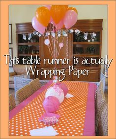 wrapping paper=table runner Clever idea for party decorations. Check out this Orange and Pink party-More Photos Grad Parties, Holiday Parties, Birthday Parties, Birthday Ideas, Women Birthday, Fete Marie, Jasmin Party, Cheap Party Decorations, Plastic Tablecloth Decorations