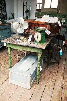 Lovely green farmhouse table