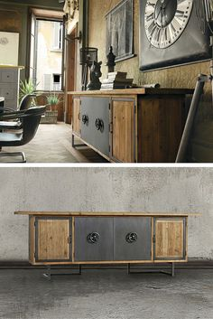 with 4 doors made in old pine with metal handles. Lateral doors with metal outline and central doors in metal cover – Creative Beds, Cupboard, Cabinet, Teak Sideboard, Live In Style, Brown Furniture, Old Wood, Wood And Metal, Outline