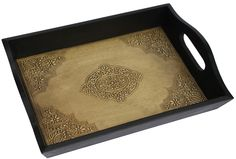 SouvNear Christmas Gift Deals - Elegant Handmade Serving Tray for Your Bar, Tea, Coffee Lounge and Other Food Serving Needs - Large Sized 15 Inch Tray with a Brass Decorated Base - Beautiful Holiday Gifts from Rajasthan, India SouvNear Mexican Kitchen Decor, Kitchen Decor Signs, Copper Kitchen Decor, Colorful Kitchen Decor, Kitchen Decor Themes, Vintage Kitchen Decor, Serving Trays For Ottomans, Serving Trays With Handles, Wooden Serving Trays
