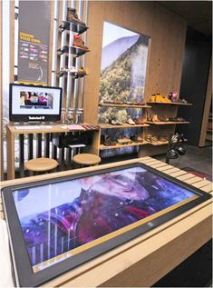 Timberland Launches New Interactive Retail Concept Using Digital Signage Touchscreens Energy Technology, Digital Technology, Technology Definition, New Gadgets, Cool Gadgets, Bluetooth Stereo Headset, Retail Fixtures, Retail Concepts, Retail Experience