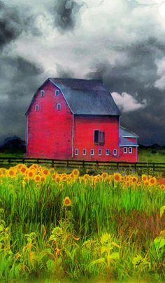 Barn & sunflowers~ Love, Love, Love this painting.  I WANT!
