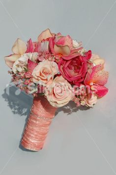 Artificial Pink and Peach Bridal Wedding Bouquet with Orchids and Roses | eBay