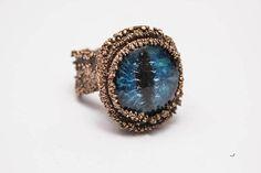 Blue Dragon Eye Ring Raw boho copper Jewel Mother of dragons
