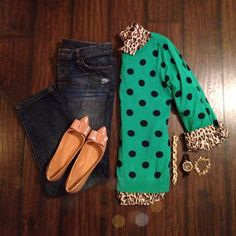 Leopard + Green Polka Dots | I'm not really an animal print girl, but if you stick it with a nice green my little eyes light up.