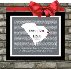 Wedding Gift: Song Lyric Love Map Print Art, Any Location Song Unique Anniversary Engagement Gift Picture Wedding Lyrics Wall Art via Etsy