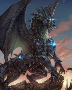 """The Dragon Knight-Timaeus"" by Carlos Herrera aka Chaos-Draco @ deviantart Mythical Creatures Art, Fantasy Creatures, Dark Fantasy, Fantasy Art, Final Fantasy, Dragon Rise, Mythical Dragons, Legendary Dragons, Dragon Knight"