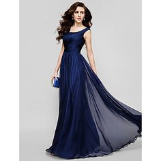 TS Couture®  / Formal Evening / Holiday Dress - Dark Navy Plus Sizes / Petite A-line / Princess Scoop Floor-length Chiffon – USD $ 149.99