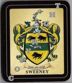 Macsweeney irish septs coa irish national tartan background tartan sweeney irish family heraldic coat of arms on hardwood corked quality coaster set each set contains 2 coasters altavistaventures Gallery