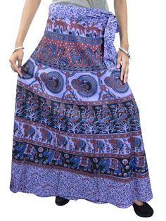 Purple Wrap Skirt- Ethnic Printed Cotton Wraparound Indian Skirts, Gift for Her