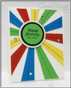 Sunburst Thinlet and Sunburst Sayings, Rainbow, Happy Birthday, Stampin' Up!, #stampinup, created by Connie Babbert, www.inkspiredtreasures.com
