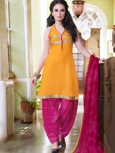 Yellow Pink Cotton Lovely Patiala Salwar Kameez www.parisworld.in
