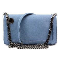 """Stella McCartney """"306706"""" French Blue Faux Suede Clutch/Shoulder Bag"""