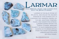 #Larimar is the blue stone of Atlantis, and as such it holds the ancient #wisdom of this sunken city. Though it is associated with the element of water, larimar is a gem born from fire. It contains the tranquil energy of the sea, soothing tempers, fears, and stress.