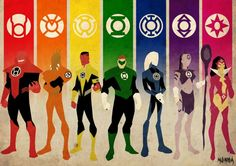 The complete Lantern Corps: Red/Rage; Orange/Avarice; Yellow/Fear; Green/Will; Blue/Hope; Indigo/Compassion; Violet/Love - Lanterns by Kid Liger