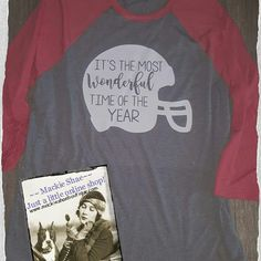 """It's the Most Wonderful Time of the Year Custom Shirt! We made this one on our Soft Grey with Red Triblend 3/4 Sleeved Raglan! Get it made on any color of soft shirt or raglan! Made by us at Mackie Shae! Delivery/Pick up Customers can use the code """"deliver"""" to waive shipping Customize and Order HERE:  http://www.mackieshaeboutique.com/apps/webstore/products/show/7084604 Be the First to see new items, join our group!  https://www.facebook.com/groups/mackieshae/ #mackieshae #custom #est1997"""