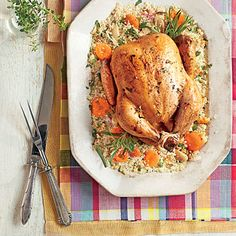 Slow-Cooker Chicken with 40 Cloves of Garlic | Serve this flavorful chicken with apricots over a bed of couscous for a North African-inspired supper.