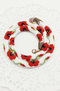 #Memory #poppy  #veterans  $67.13+  This bright and extravagant poopy flowers necklace is a fashion trend in spring and summer. It is a wonderful and colorful gift for a woman or girl, for your mother, grandmother, or work colleagues.