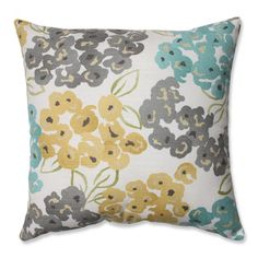 Pillow Perfect Decorative Grey/ Yellow Damask Square Toss Pillow | Overstock.com Shopping - The Best Deals on Throw Pillows