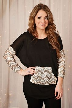 Glamour Farms - Fun All Around Sequins Top - $39 - Black