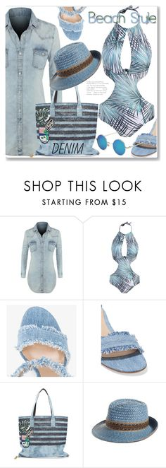 """Vacation"" by jecakns ❤ liked on Polyvore featuring LE3NO, Gianvito Rossi, Marc Jacobs, Eric Javits, vacation, alldenim, rosegal, onepieceswimwear and denimdres"