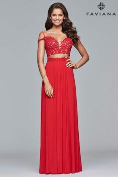 88c4b76224bd Be remarkable and go in one of our edgy prom dresses. FAVIANA 10045 is a  red two-piece mesh dress with lace applique bodice and lace-up back