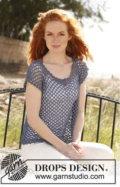'Florette' crochet top by DROPS design.  Free pattern. Mom? I like this, but with 3/4 sleeves :)