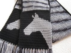 Knitted Horse Scarf. Gray and black striped scarf with horse head silhouettes. Animal scarves. Horse lover