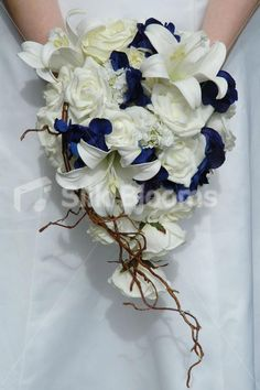Gorgeous Navy & Ivory Bridal Bouquet w/ Peonies, Lilies & Roses