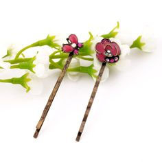 Europe and the United States flowers Drip oil alloy  (red)  Hairpin, hairpin YTSJ0732