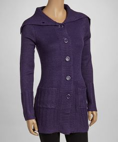 Take a look at this Plum Waffle-Trim Long Cardigan by Ami Sanzuri on #zulily today! $20 !!