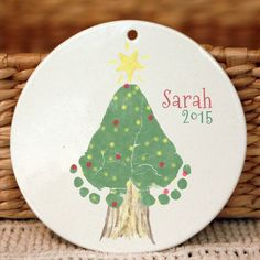 Christmas Tree Footprint Ornament  302A_Orn_hand and footprint art, baby footprint keepsake, print kit, first christmas, grandma, grandpa