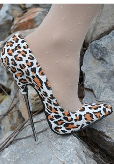 Womens Stiletto Pointy Toe Leopard High Heels Nightclub Slip On Pump Shoes Super High Heels, Hot High Heels, Sexy Heels, High Heels Stilettos, Womens High Heels, Stiletto Heels, Pantyhose Heels, Stockings Heels, Stockings Lingerie