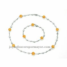 collar y pulsera de cristal naranja en acero plateado inoxidable para mujer-SSNEG921810