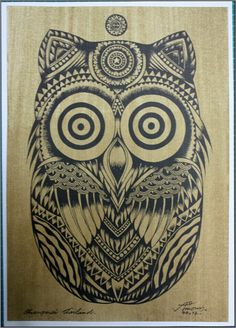 Thai traditional art of Owls by silkscreen by AmornGallery on Etsy, ฿69.00
