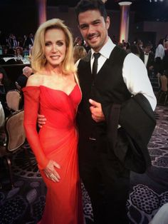 Donna Mills and Ryan Paevey GH 2014. She's had too much done on her face.
