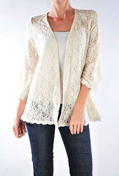 Rose Pattern Lace Cascading Collar Cream Jacket | Women's Tops ...