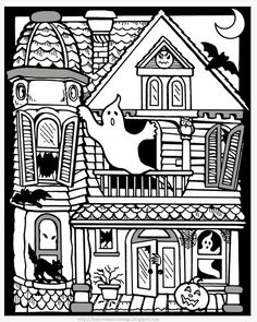 Printable halloween coloring pages: Printable Halloween Haunted House Coloring Pages