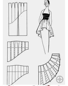Hi low asymmetric skirt pattern Corset Sewing Pattern, Skirt Patterns Sewing, Pattern Drafting, Blouse Patterns, Clothing Patterns, Pattern Skirt, Sewing Clothes, Diy Clothes, Fashion Sketch Template