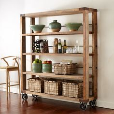 Recycled Pine Wood Bookcase Shelves & Bookcases by Pine Bookcase, Bookcase Shelves, Pallet Shelves, Wood Shelves, Rustic Bookshelf, Kitchen Shelves, Baskets On Shelves, Kitchen Storage, Rustic Shelving Unit
