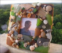 Sea Glass And Sea Shells Picture Frame Hand Made by GraceParadise, $58.00