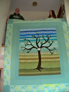 """Anita Balgenorth: """"Tree of Life quilt made for our daughter and her husband in celebration of their marriage last May. Their initials are on the heart on the trunk."""""""