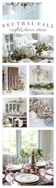 easy ideas for adding neutral decor to your Fall home with beautiful Autumn craft/decorating examples and tutorials.