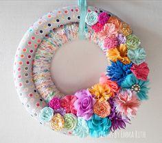 Summer Double Wrapped Fabric Yarn Wreath Confetti Birthday multi- color with flower fabric and felt embellishments by WreathsByEmmaRuth on Etsy https://www.etsy.com/listing/231834962/summer-double-wrapped-fabric-yarn-wreath