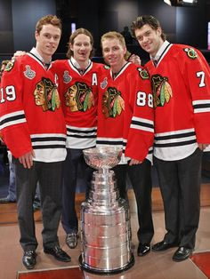 The Chicago Blackhawks with The Stanley Cup
